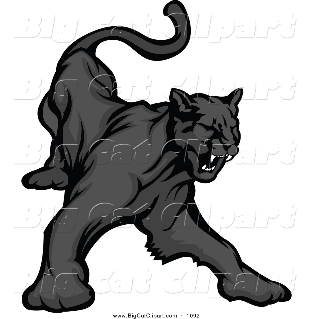 Black Panther Growling Royalty Free Stock Image: Big Cat Vector Clipart Of A Black Panther Growling By