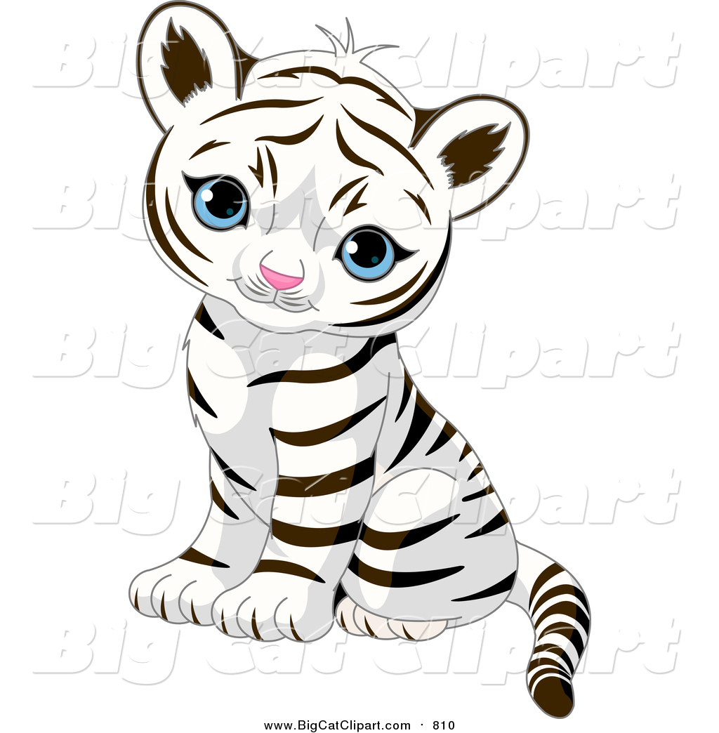 big cat vector clipart of a cute baby tiger cub sitting and looking rh bigcatclipart com baby tiger clipart free cute baby tiger clipart free