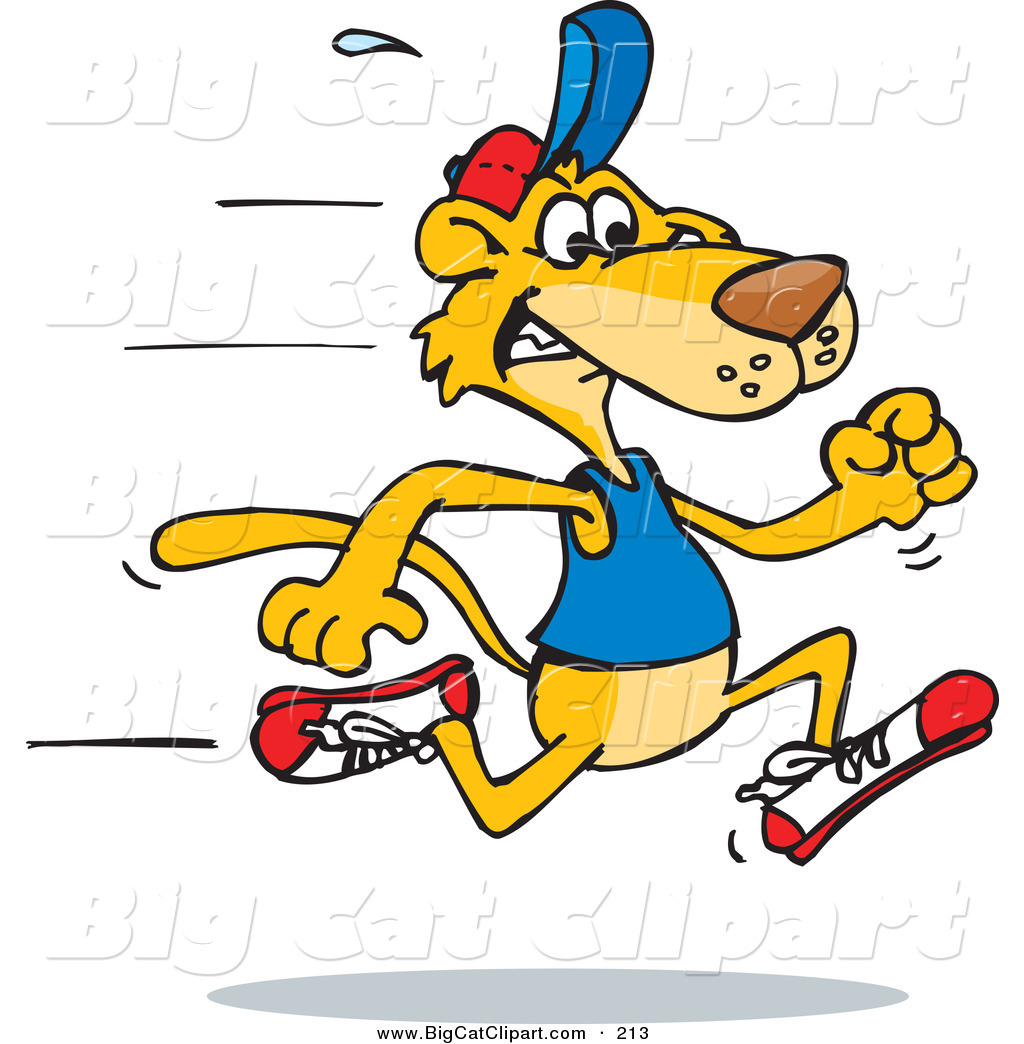big cat vector clipart of a fast mountain lion running to Wildcat Words free wildcat clipart blue
