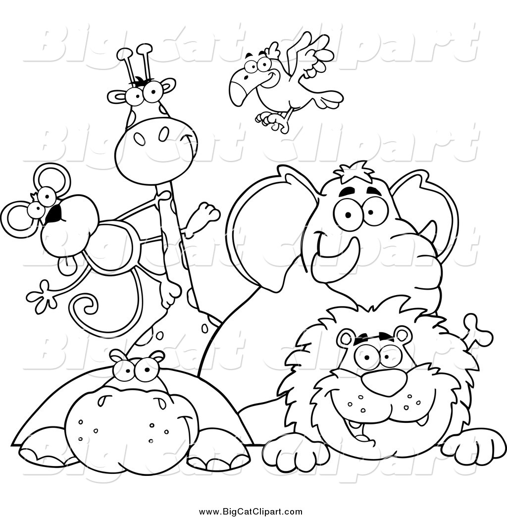 Zoo Line Art : Big cat vector clipart of black and white happy zoo