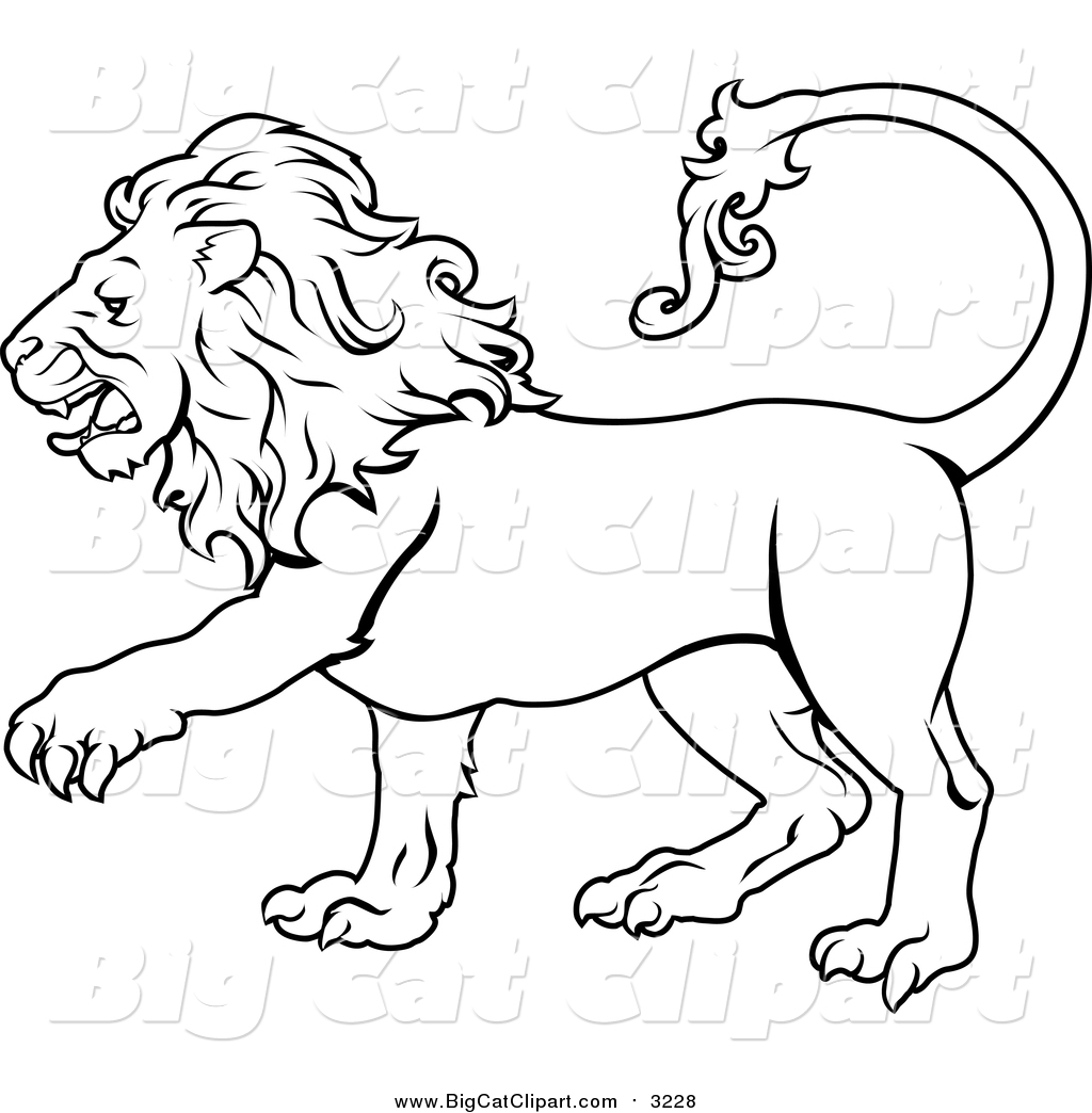 Big Cat Vector Clipart Of Lineart Of The Leo Lion Zodiac Astrology Sign By Atstockillustration 3228 Thin line leo outline icon vector illustration. leo lion zodiac astrology sign