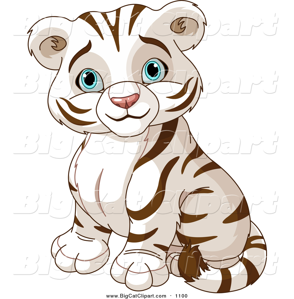 vector clipart of a cute cute blue eyed white tiger cub sitting by rh bigcatclipart com black white tiger clipart White Tiger Face