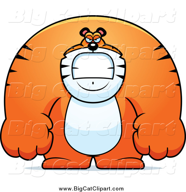 Big Cat Cartoon Vector Clipart of a Angry Huge Tiger by ...