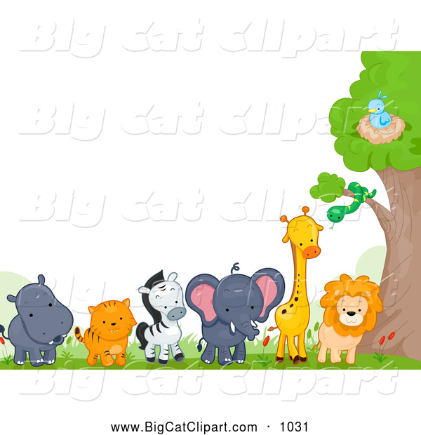 A Jungle Of Big Cat Designs: Big Cat Cartoon Vector Clipart Of A Border Of Cute Wild