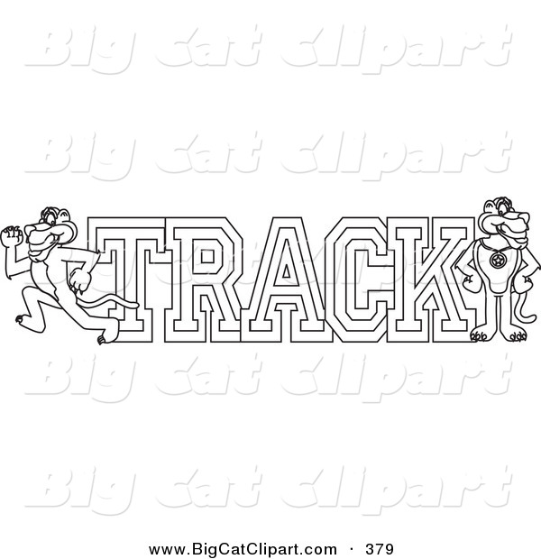 Big Cat Cartoon Vector Clipart of a Coloring Page Outline Design of a Panther Character Mascot