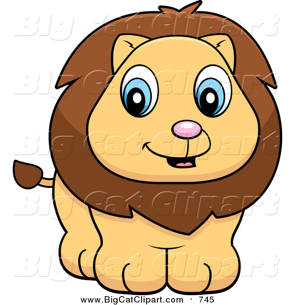big cat cartoon vector clipart of a cute lion cub smiling by cory rh bigcatclipart com lion clipart black and white lions clip art free
