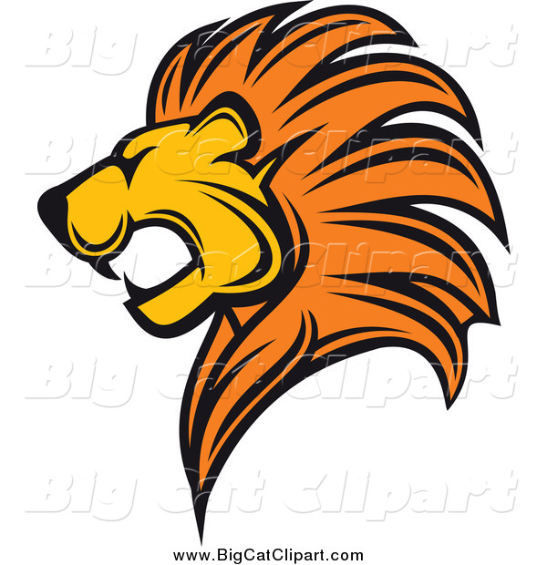 big cat vector clipart of a profiled lion head by vector tradition rh bigcatclipart com lion head clip art free lion head clip art black and white